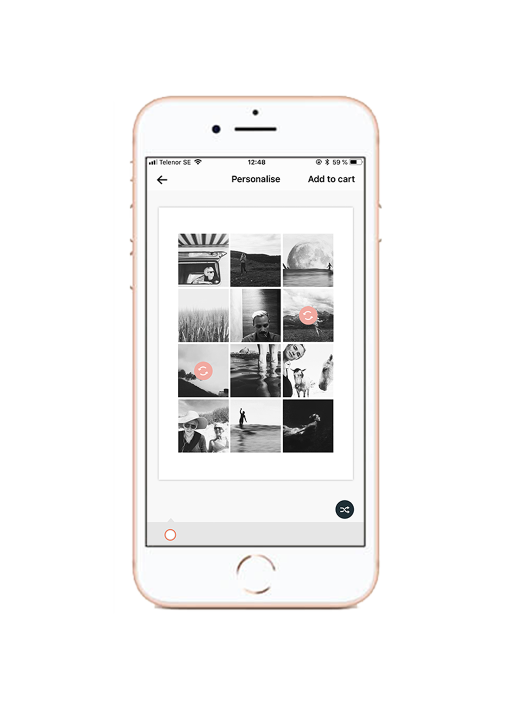 - Du kan enkelt flytta runt dina bilder påpostern för att hitta rätt komposition. Markera de två bilder du vill byta plats på så flyttar de sig automatiskt. Fortsätt flippa tills du hittar rätt komposition.