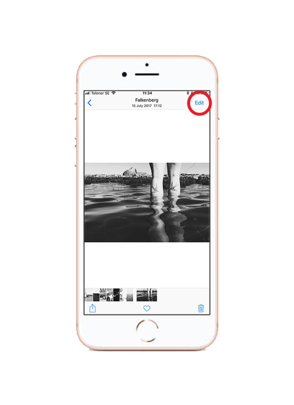 1. Choose edit - When viewing your photo, click the edit button in the top right corner.