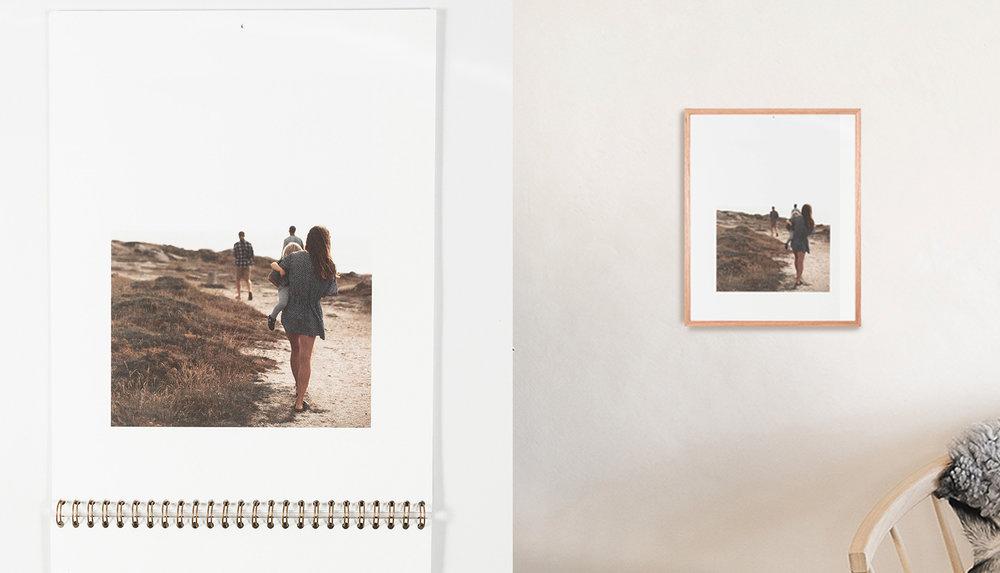 - För väggkalender klipper/skär du enkelt bort spiralmärkena och vips har du en poster/print i A4-format att rama in eller pryda en vägg med precis som det är.