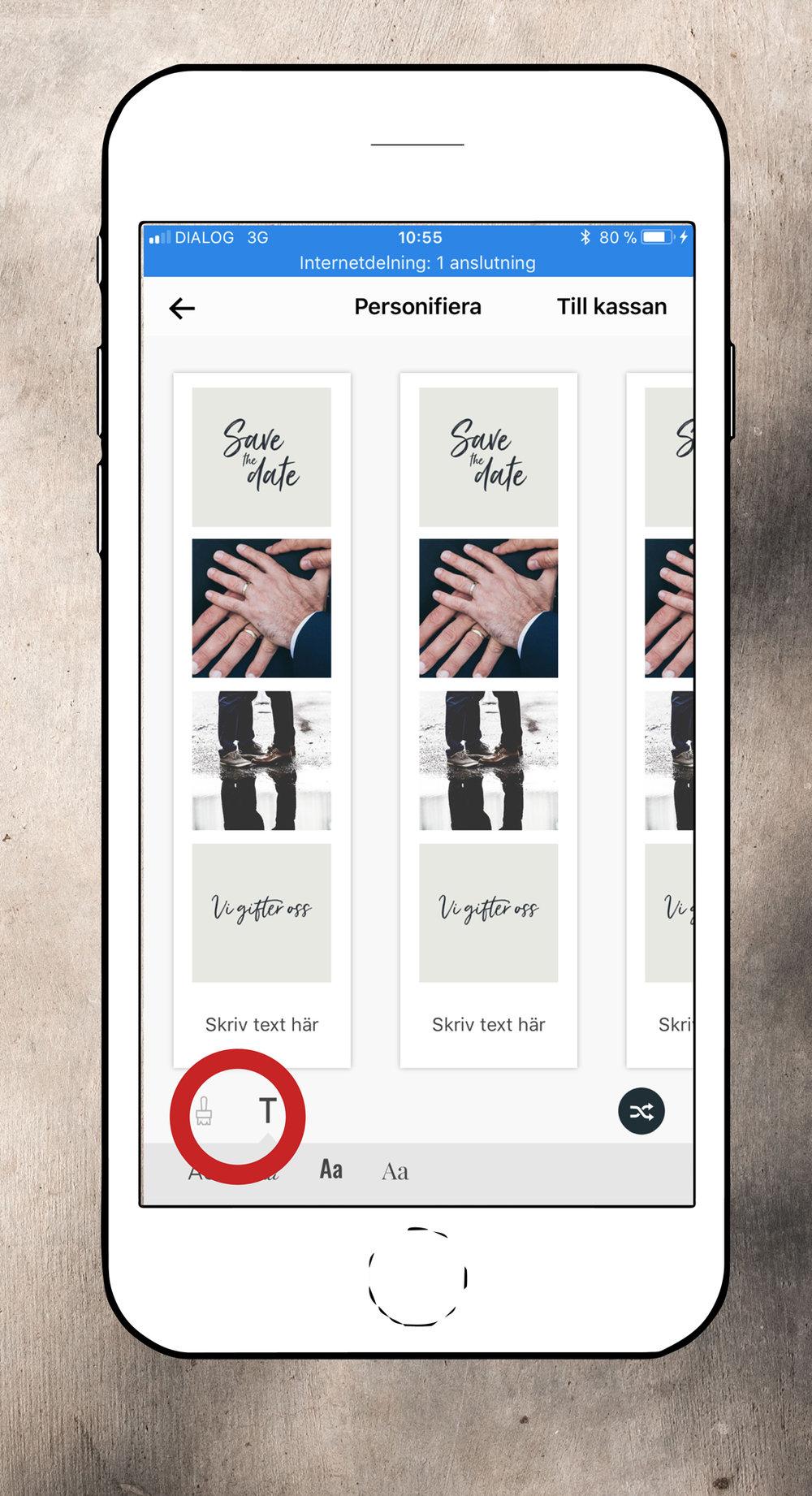 Swappa & skriv - Positionera: För att byta plats på bilderna markerar du bara de två du vill swappa. Gör sedan så med alla bilder tills de ligger precis så som du vill ha dem.Personifiera:  Du kan enkelt lägga till en text med vårt text-verktyg, eller byta bakgrundsfärg med hjälp av penseln.