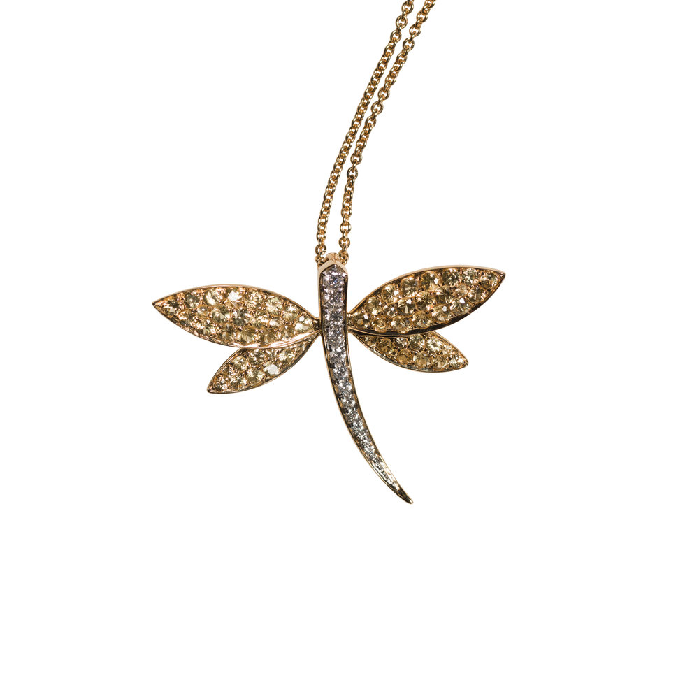 LIBELULA LARGE NECKLACE 25.000 NOK   18 kt yellow gold with yellow sapphires and diamonds