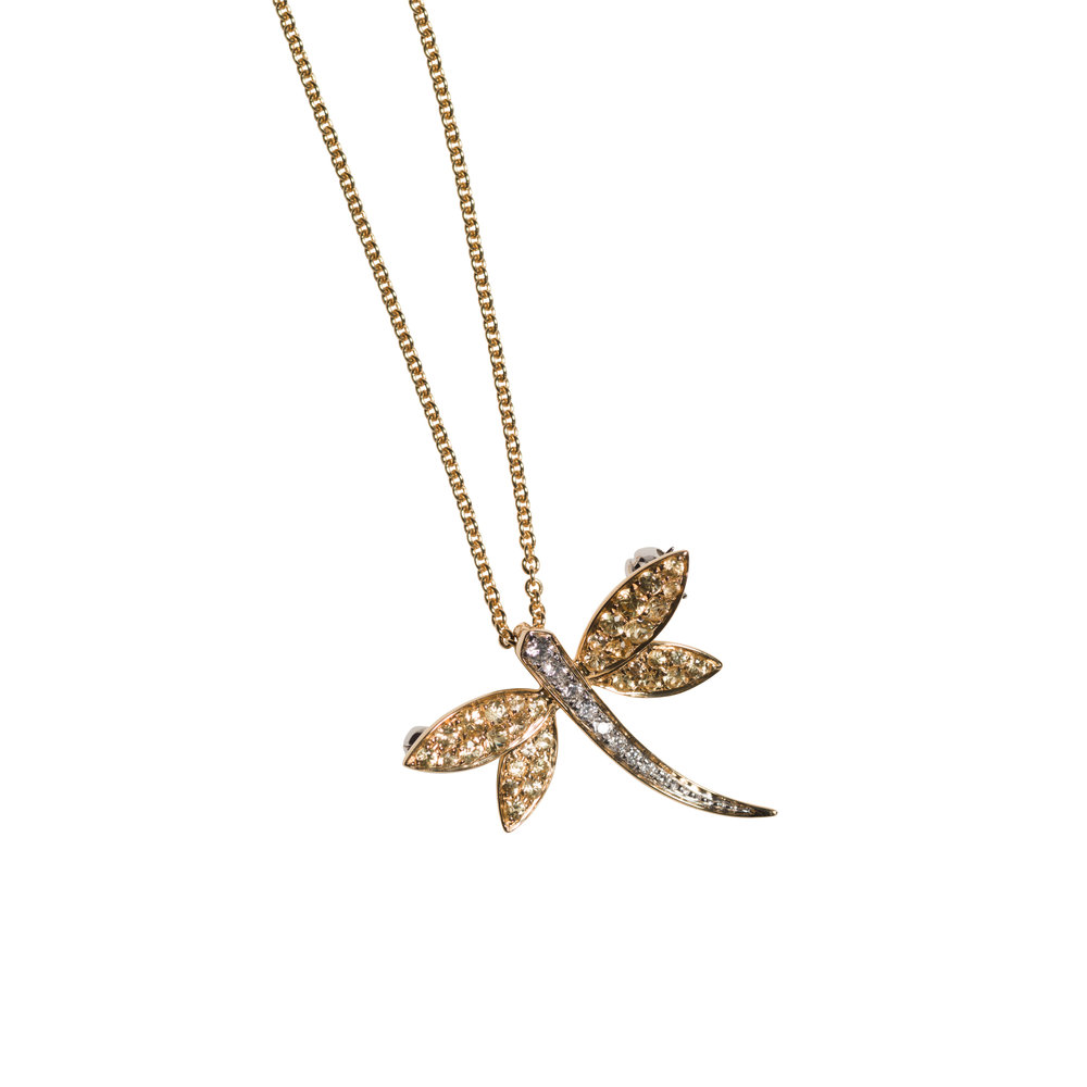 LIBELULA SMALL NECKLACE 20.000 NOK   18 kt yellow gold with yellow sapphires and diamonds