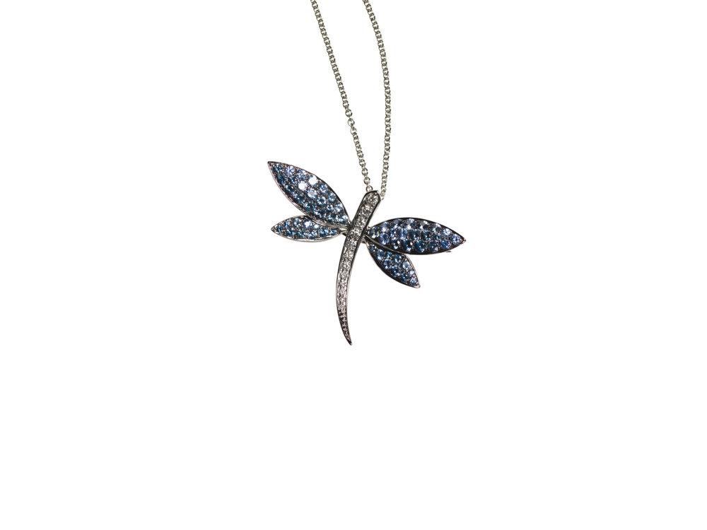 LIBELULA LARGE NECKLACE    25.000 NOK   18 kt white gold with blue sapphires and diamonds
