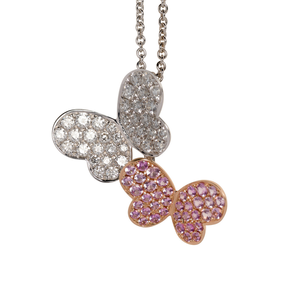BUTTERFLY NECKLACE   35.000 NOK   18 kt gold with diamonds and pink sapphires