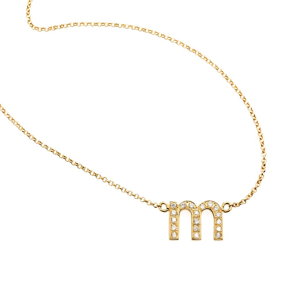 DIAMOND LETTER NECKLACE 16.000 NOK   18 kt gold with diamonds