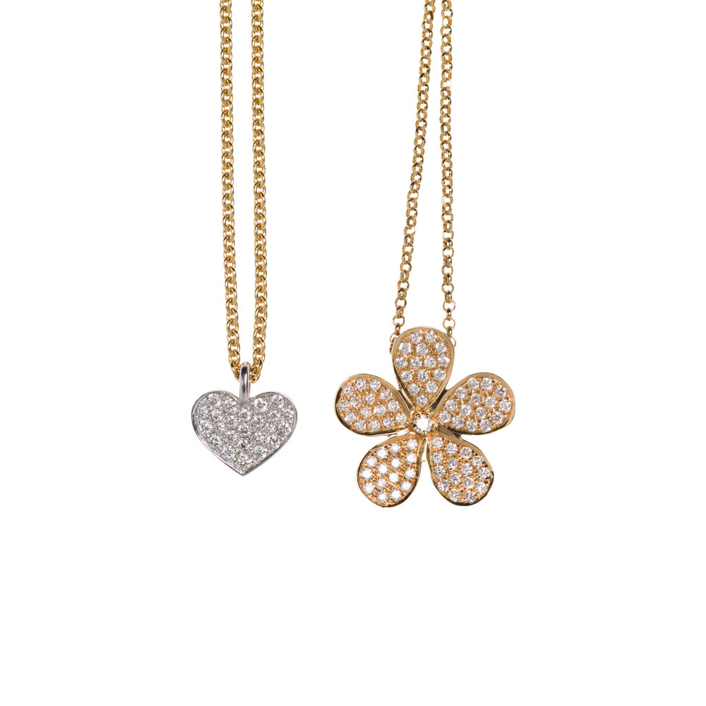 HEART NECKLACE – 10.500 NOK STELLA NECKLACE – 14.000 NOK   18 kt gold with diamonds
