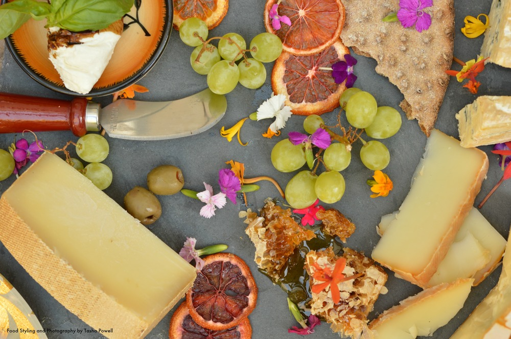 Cheese plate with flowers, honey and fruit by Tasha Powell March 2015.jpg