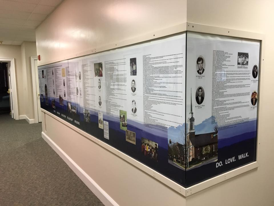our timeline now hangs outside the fellowship hall