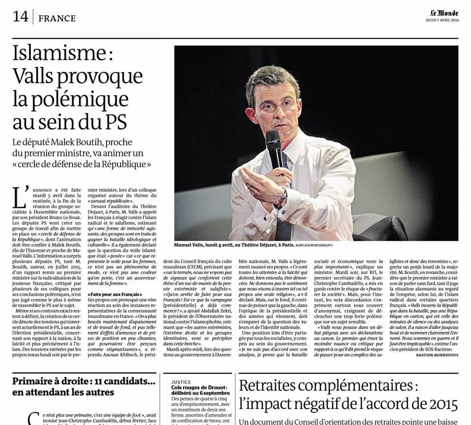 Le Monde - Jeudi 7 avril 2016 © Aurélien Morissard.jpg