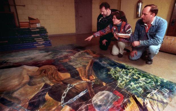 Mitchell Elementary School staff examining the Zingale mural, circa 1996