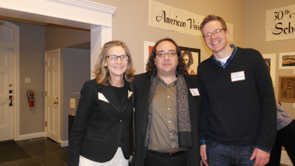 (left to right) Sue Massie – board member of the Elijah Iles House Foundation, Anthony Rubano – board member of the Springfield Art Association, Frank Butterfield – Director of the Springfield Field Office, Landmarks Illinois