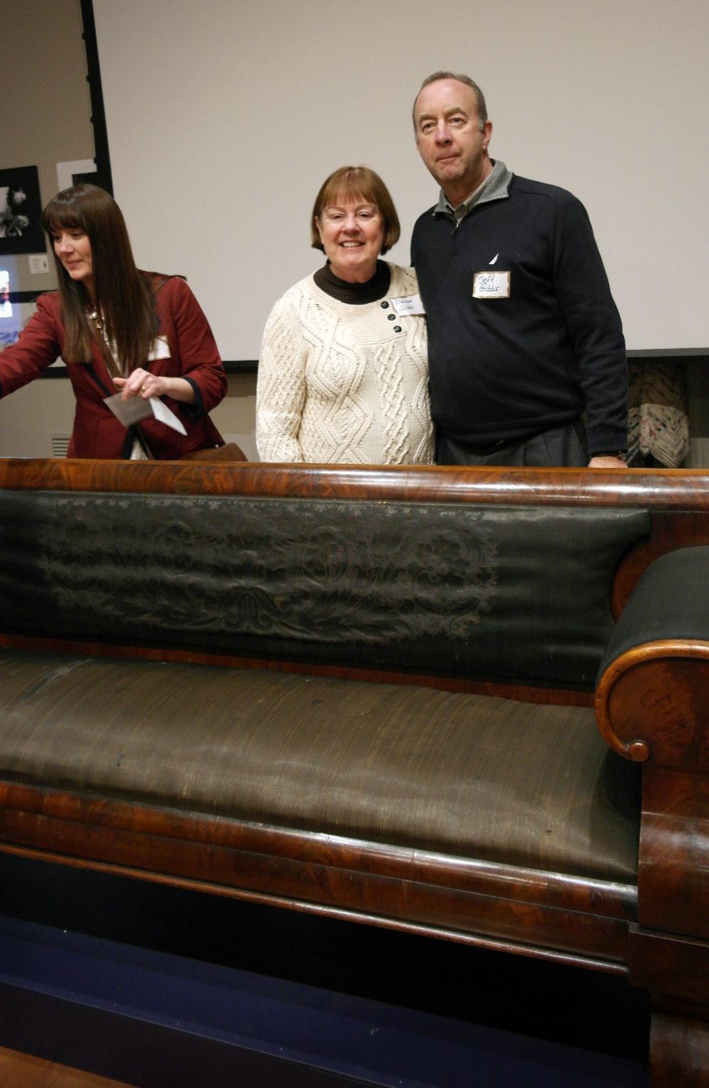 Anne Moseley – Assistant Director of the Lincoln Heritage Museum in Lincoln, Illinois; Susan and Jeff Gibbs – supporters of the Springfield Art Association