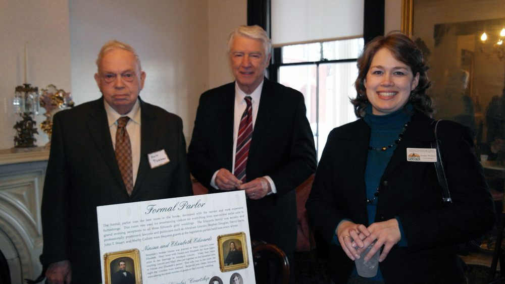 Dr. Mark Plummer – retired professor, author of Lincoln's Rail-Splitter; Robert Lenz – outgoing president of the Abraham Lincoln Association; Heather Wickens – project manager for the Looking for Lincoln Heritage Coalition