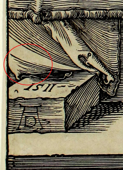 Fig. 3: Small Tear at the left edge, just above the date and artist's monogram.