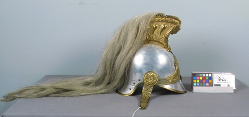 (Above) Before treatment: A Napoleonic Dragoon Helmet made of metal and horsehair