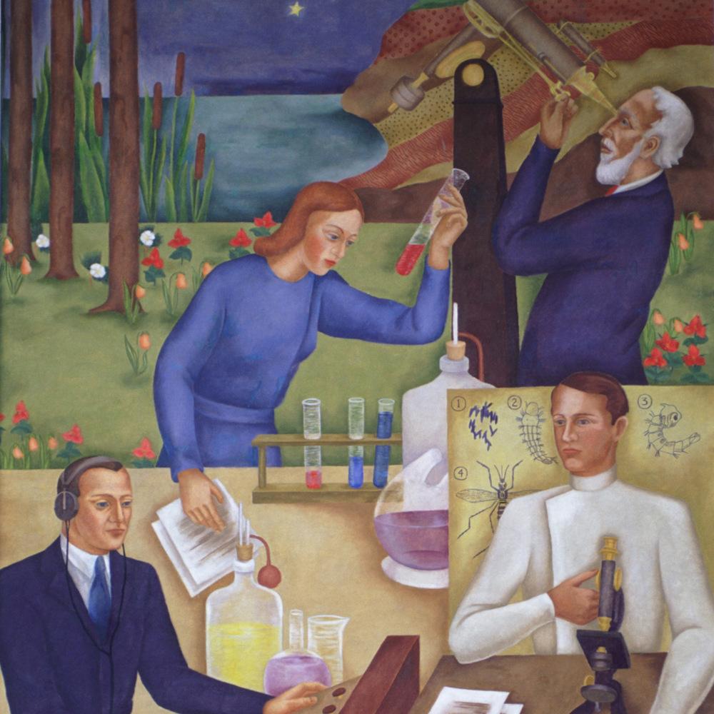 Children's Subjects: Science (detail). Grace Spongberg, 1940. Frank I. Bennett Elementary School.