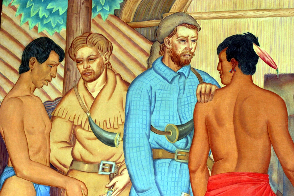 Indians and Fur Traders (detail), Tom Lea, 1907–2001. Calumet Park Field House, Chicago Park District.