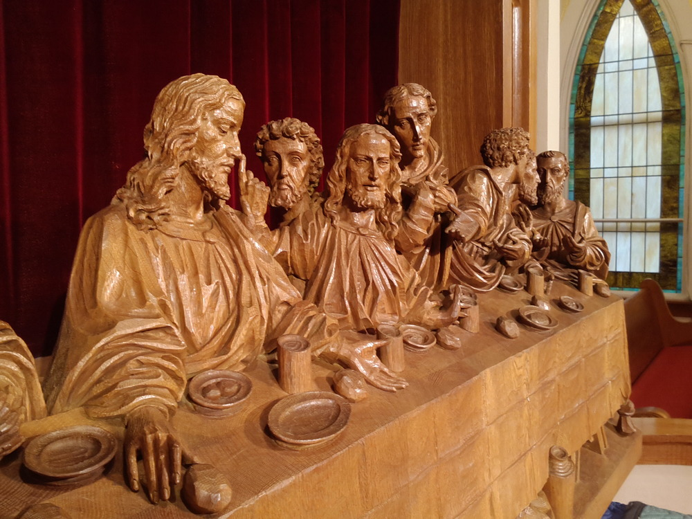 After waxing: carved oak rendering of The Last Supper c. 1930