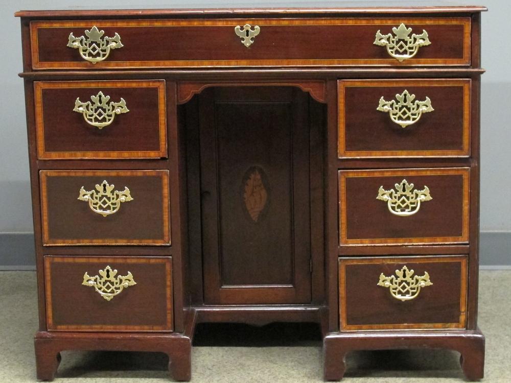 After waxing: Early George II Kneehole Desk c. 1735, Cuban mahogany
