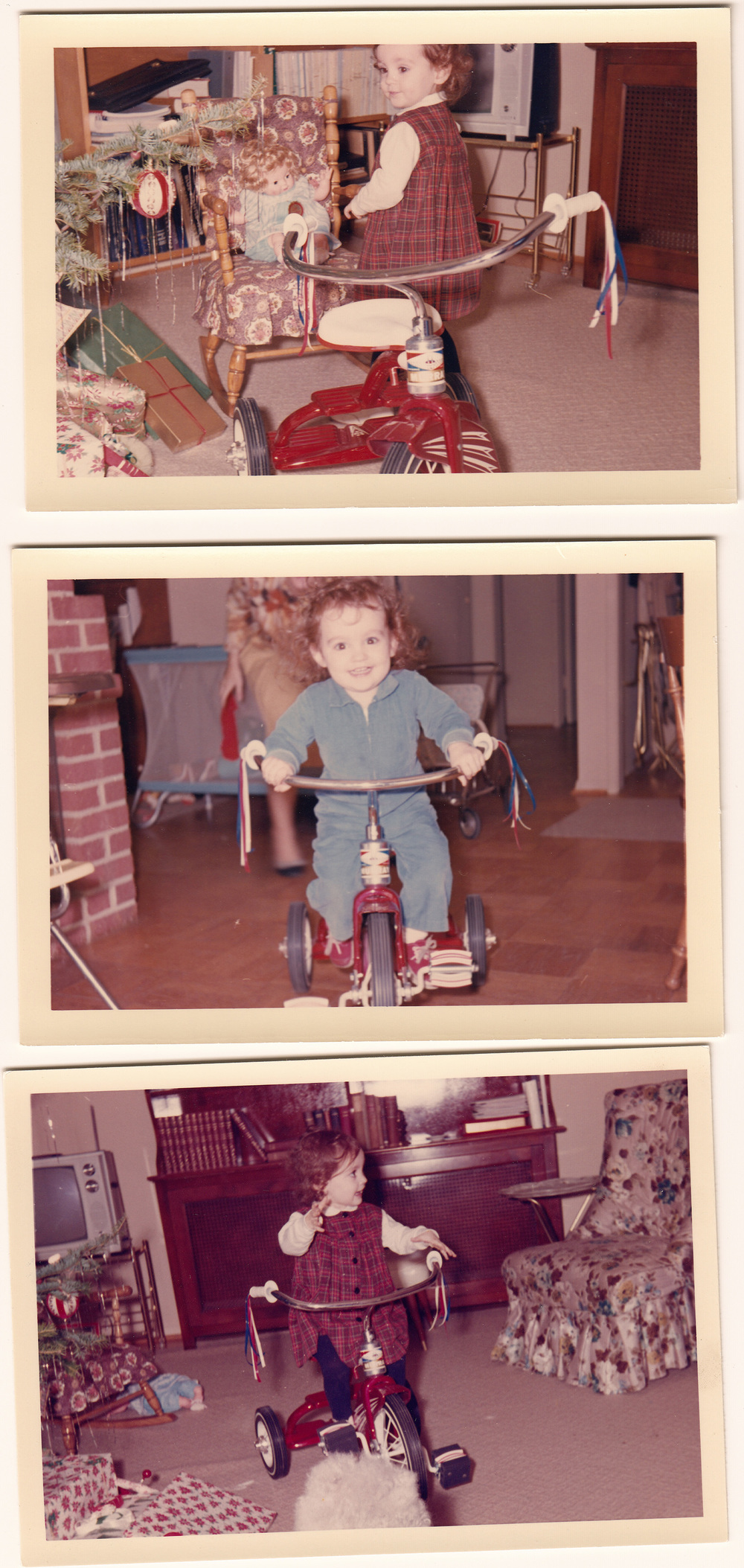 Newly delivered from Santa's workshop, Mary enjoys her Murray Tricycle on Christmas day, 1964.