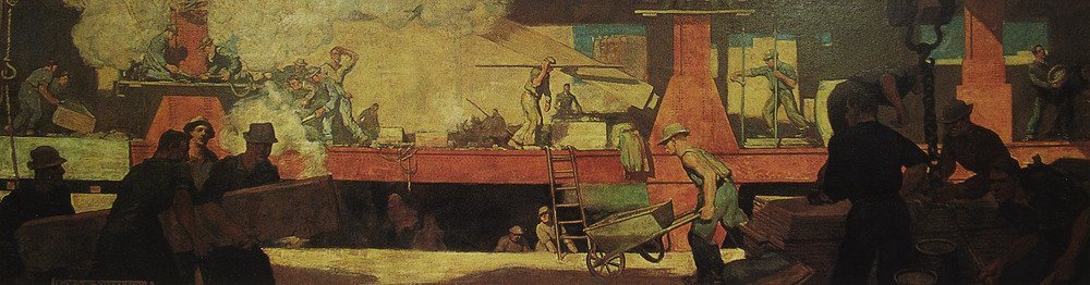 "Gordon Stevenson,  Construction Site , 1909. Oil on canvas, 2 1/2""' x 15'."