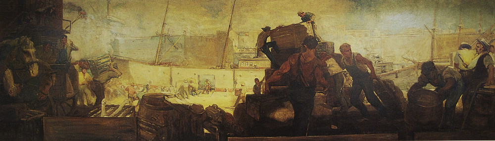William E. Scott  Dock Scene,  1909. Oil on canvas, 5' x 18'.