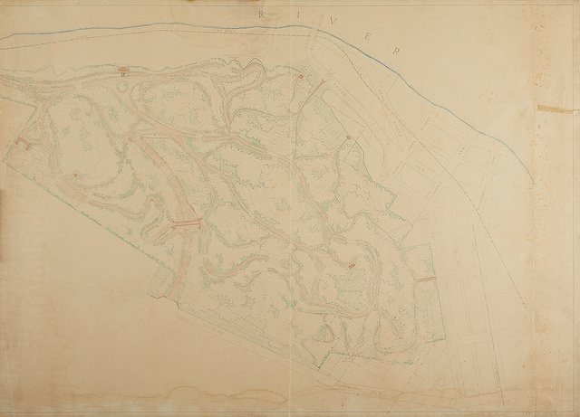 """ Eagle Point Park: Topographic Drawing - Preliminary Park Plan""  Colored Pencil on Blue Line Print"