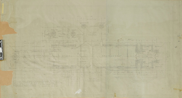 "Before Treatment   ""Building Group I: Plan of Concession Stand, Kitchen, Restaurant, and Private Dining Room""  Pencil on Tracing Paper"