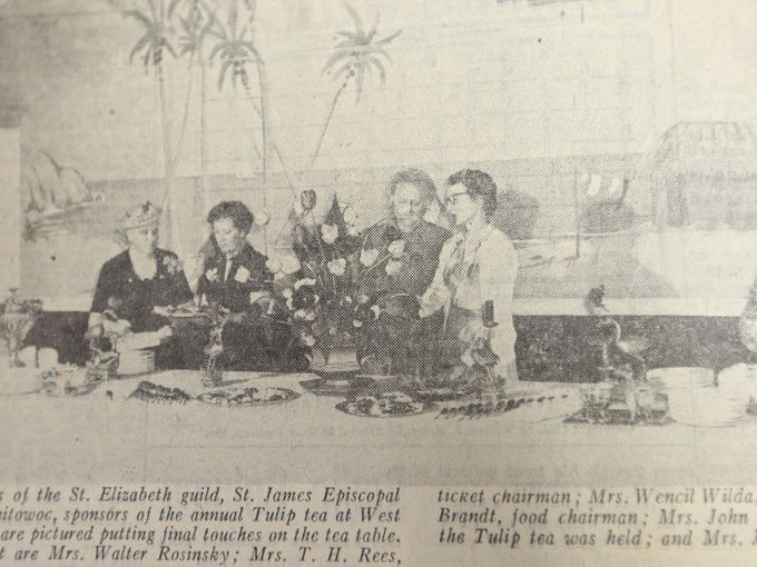 Coverage of the annual Tulip Tea, showing Bentley's mural, Herald Times Reporter, 1951