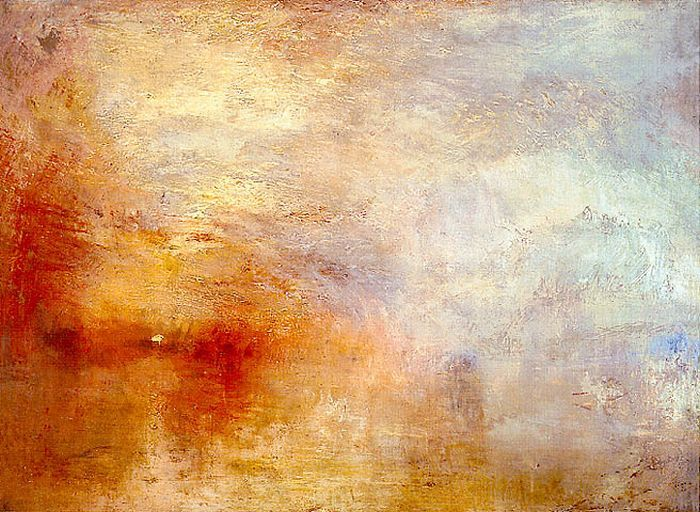 """Sun Setting Over a Lake,"" JMW Turner, 1840"