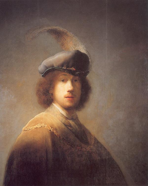 """Self Portrait with Plumed Beret,"" by Rembrandt van Rijn, 1629."