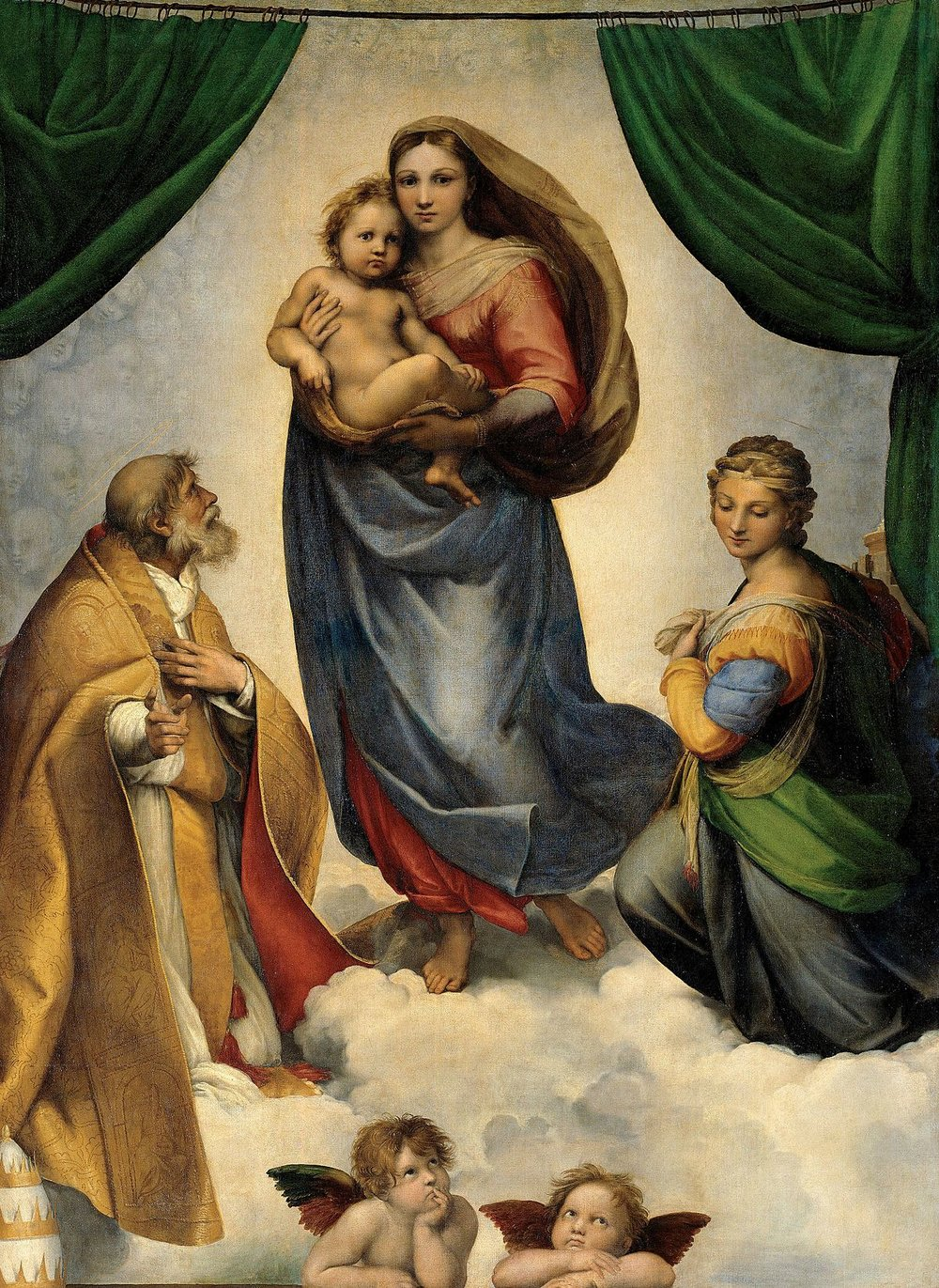 """Sistine Madonna"" by Raphael, 1512, contains Raw Sienna."