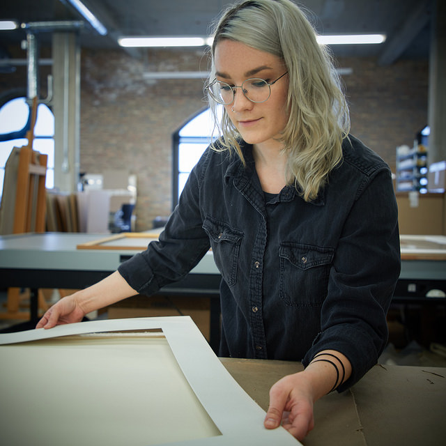 Maira Egan - Maira received her BFA from the School of the Art Institute in 2014, where she studied ceramic sculpture, painting, and printmaking. After finishing school, she attended a ceramic-focused residency in Virginia until the summer of 2015, when she started working in custom framing in Chicago. Maira now has a rich studio practice focused around painting, sculpture, and installation; and is enthusiastic about the protection and display of all kinds of artwork.