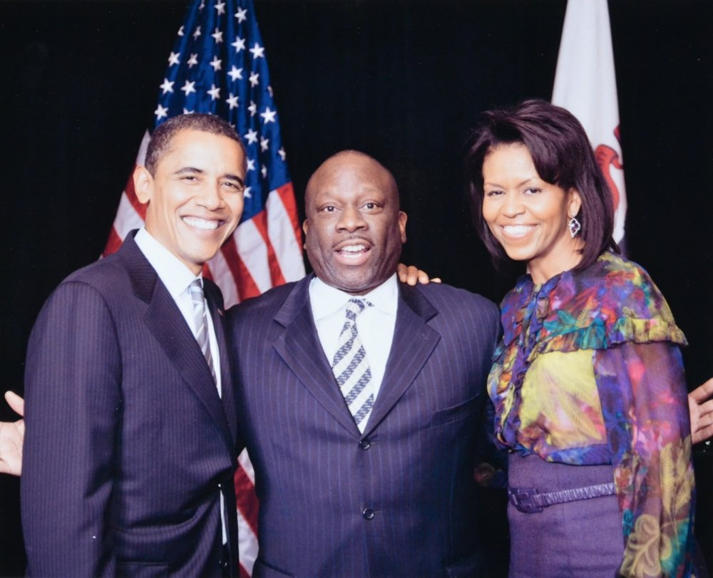 President Barack Obama, Lester Coney, and First Lady Michelle Obama at the congratulatory reception for the President-elect Barack Obama at The Standard Club in Chicago, November 2008.