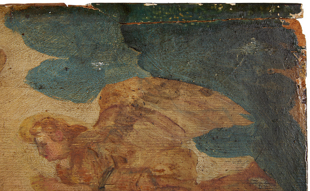 Detail depicting the large crack at the top right of the painting.