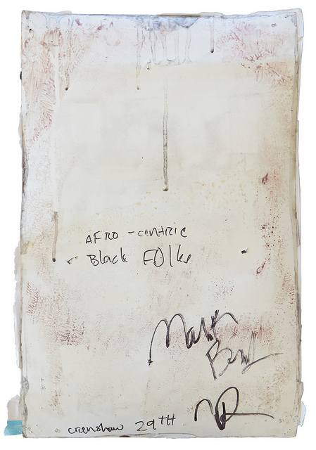 """Afro-Centric Black Folks — Crenshaw 29th"" by Mark Bradford, verso."