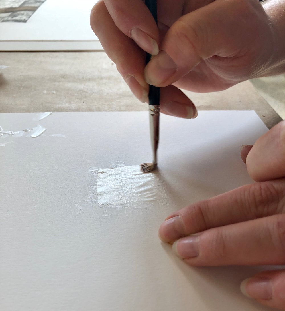Wheat starch past is applied directly onto the Kozo paper.