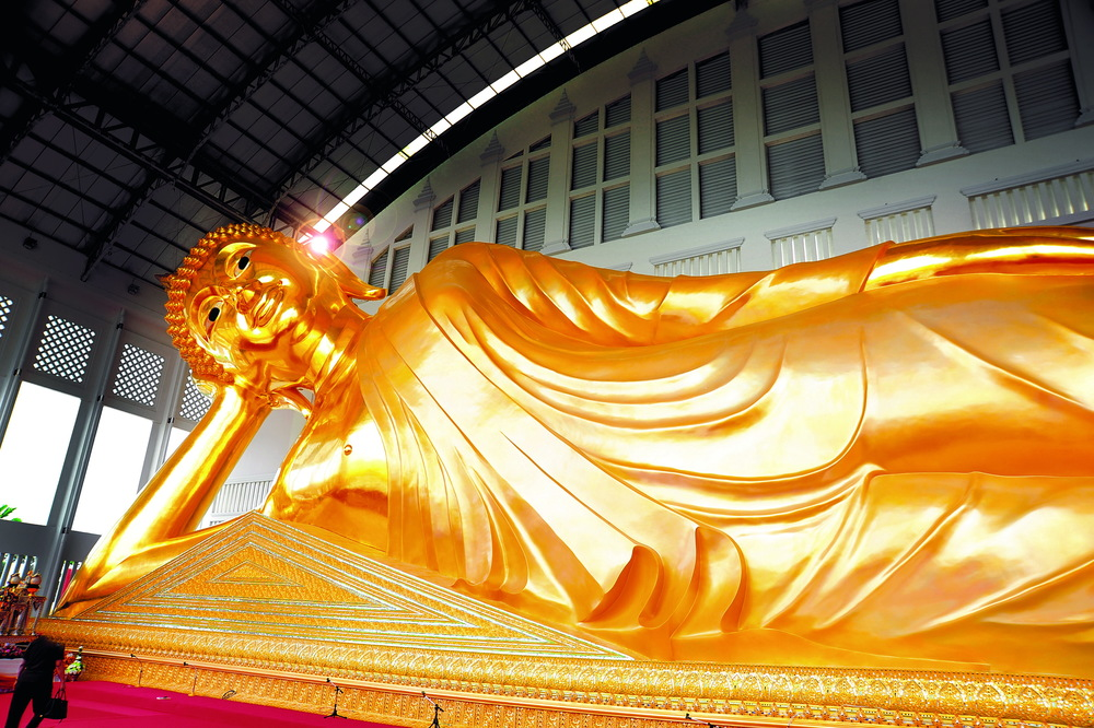 Gold paint+พระพุทธรูปปางไสยาสน์