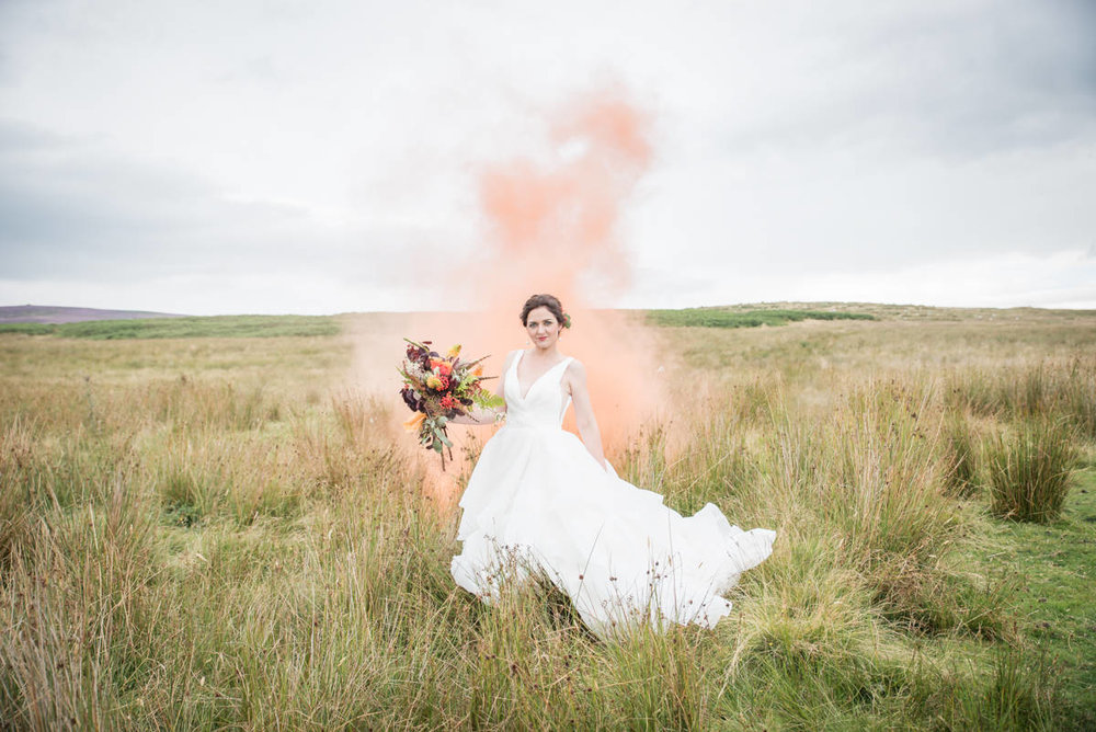Wedding photographers yorkshire - wedding photographers leeds - natural wedding photography - smoke bombs (2 of 3).jpg
