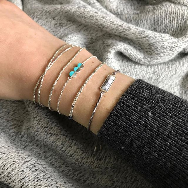 There's definitely still room for more, right?? Feat. the Howlite Bar bracelet with grey silk and a Silver Nugget bracelet.