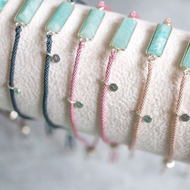 Pretty slices of amazonite ready to add a hint of colour to your wrist 💙  #friendshipbracelets #sterlingsilver #silk #amazonite #jotd