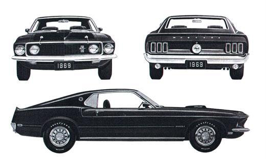 Advertisement for the 1969 Ford Mustang Mach 1.