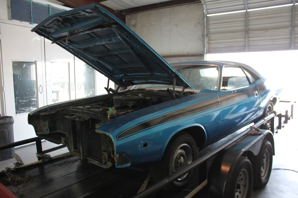 The 1974 Charger as it arrived in the shop.