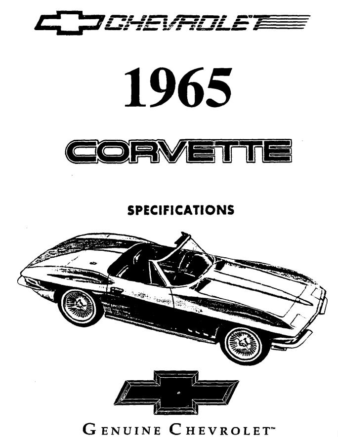 Click the above image to view the original 1965 Corvette Stingray Specs