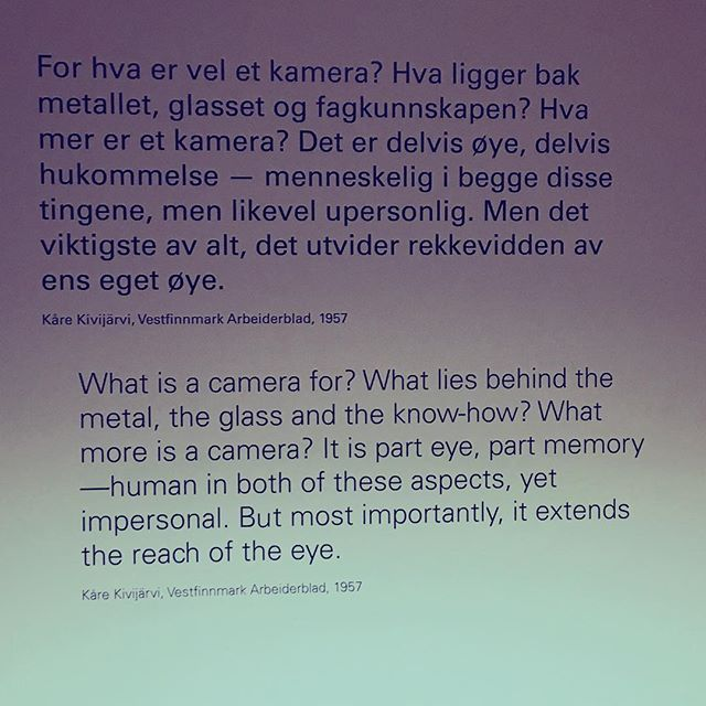 "Had a great night at the launch of @henieonstad new exhibition. ""The camera extends the reach of the eye"" #kårekivijärvi photography"