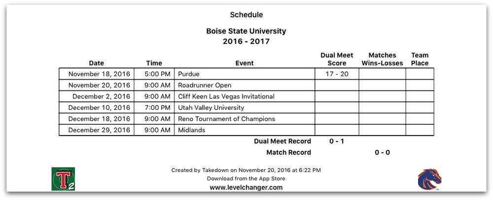 Takedown Schedule