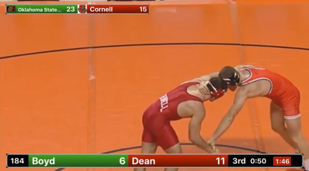 Screenshot: Boyd v. Dean, Dec 2016, with Takedown Scoring Video Overlay