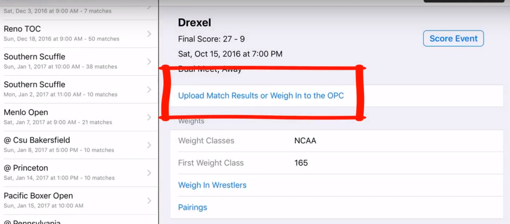 Screenshot:Upload Match Results or Weigh In to the OPC
