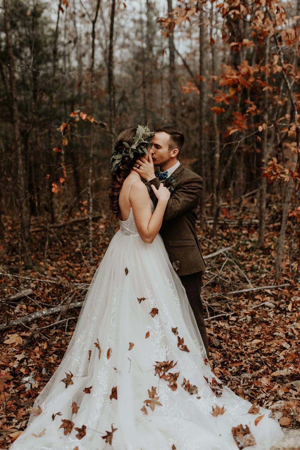 Leaves on dress fall wedding