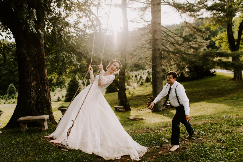 Bride on swing wedding